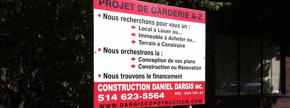 Construction garderie montreal